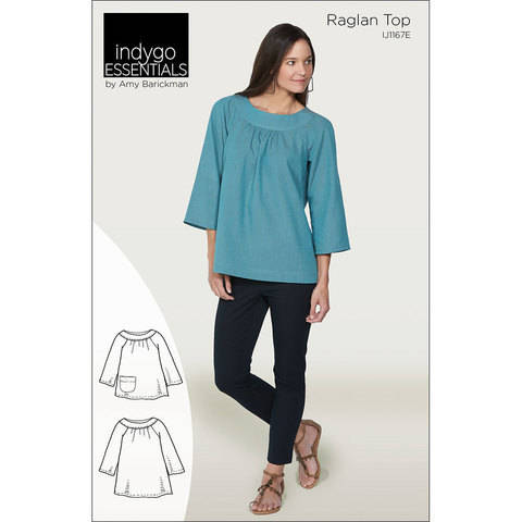 Download Indygo Essentials: Raglan Top Digital PDF Sewing Pattern - Two lengths with flared three quarter length sleeves Sizes SM - 3X immediately at Makerist