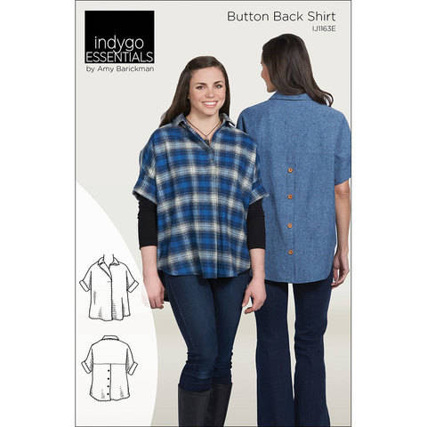 Download Indygo Essentials: Button Back Shirt Digital PDF Sewing Pattern - collared oversized shirt with a classic look Size SM - 3X immediately at Makerist