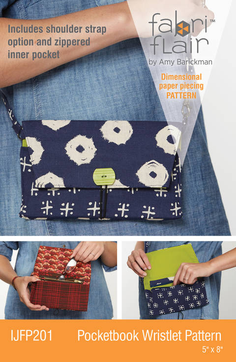 Download Fabriflair™ Pocketbook Wristlet Digital PDF Pattern — dimensional paper piecing project instructions immediately at Makerist