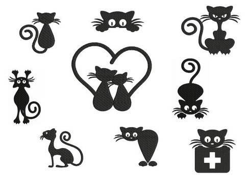 Stickdatei - Katze Silhouette in PES bei Makerist sofort runterladen