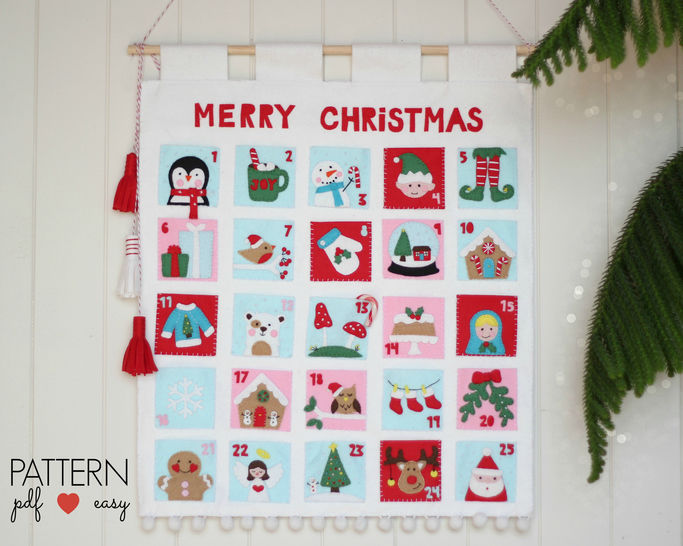 Christmas Advent Calendar Pattern Felt Advent Calendar Countdown