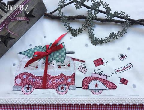 Stickdatei ★ Weihnachtsbusse ★ 13x18 und 18x30 ★ bei Makerist sofort runterladen