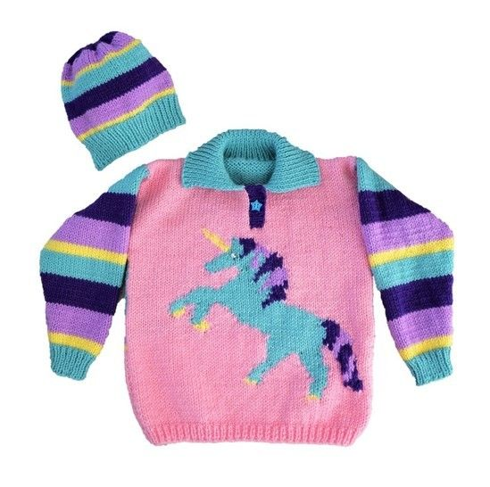 Download Unicorn Sweater and Hat - Knitting Patterns immediately at Makerist