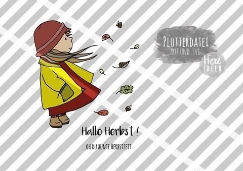 "Plotterdatei ""Herbstmädchen Anna"" DXF, SVG - Herzideen bei Makerist sofort runterladen"