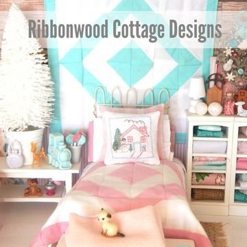Download Miniature Dollhouse Pink and White Quilt, Sheet, Pillowcases, Snowman Embroidery Pillow PDF Pattern  - Sewing Patterns immediately at Makerist