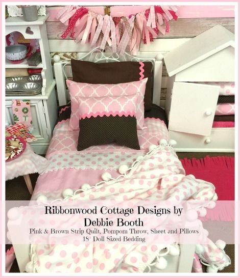 Download 18 inch Girl PDF Pattern Pink and Brown Strip Quilt, Sheet, Pillows and Pompom Throw- 18 inch doll size bedding - Sewing Patterns immediately at Makerist