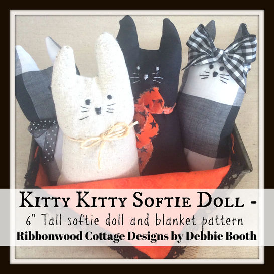 Download Kitty Kitty Softie Doll  6 inch tall doll and blanket - Sewing Patterns immediately at Makerist