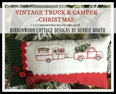 Download Vintage Truck and Camper Embroidery Pattern Christmas pillow Ornament - Embroidery Patterns immediately at Makerist