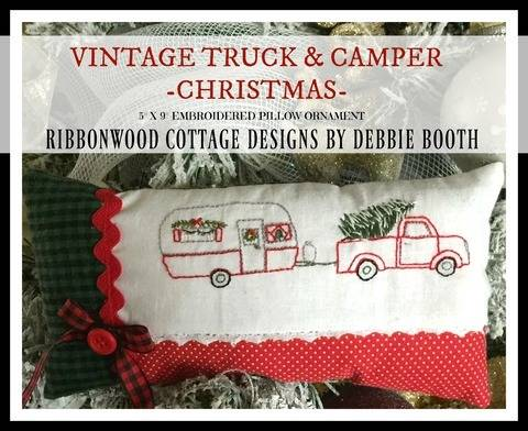 Download Vintage Truck and Camper Embroidery Pattern Christmas pillow Ornament immediately at Makerist