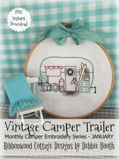 Download January Vintage Camper Trailer Embroidery - 12 month series - Embroidery Patterns immediately at Makerist