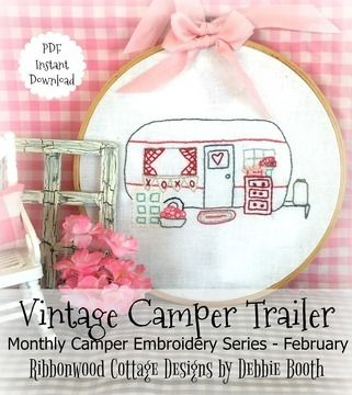 Download February Vintage Camper Trailer Embroidery Monthly Series - Embroidery Patterns immediately at Makerist