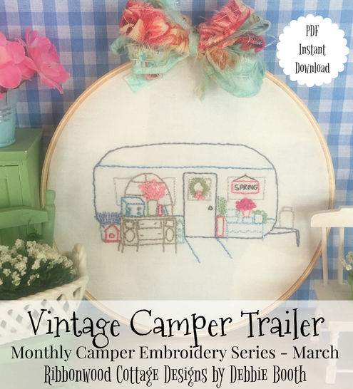 Download March Vintage Camper Trailer Embroidery Monthly series - Embroidery Patterns immediately at Makerist