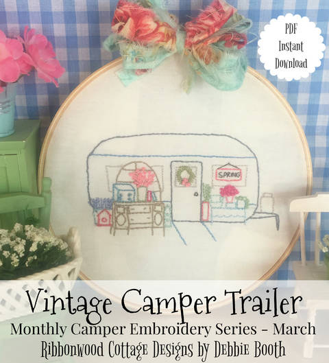Download March Vintage Camper Trailer Embroidery Monthly series immediately at Makerist