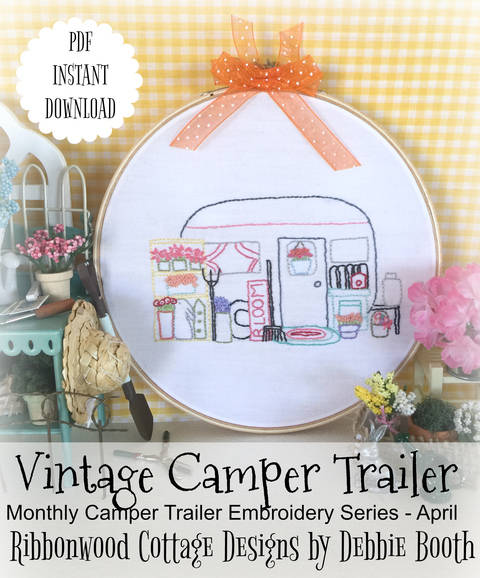 Download April Vintage Camper Trailer Embroidery Pattern immediately at Makerist