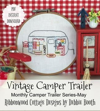 Download May Vintage Camper Trailer Embroidery Monthly Series - Embroidery Patterns immediately at Makerist