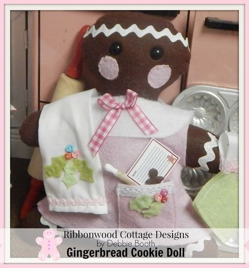 Download Gingerbread Cookie Felt Doll Feltie Toy, Kitchen Towel and Outfit - Sewing Patterns immediately at Makerist