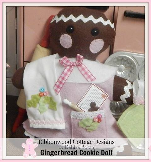 Download Gingerbread Cookie Felt Doll Feltie Toy, Kitchen Towel and Outfit immediately at Makerist