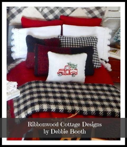 Download Sewing Pattern Miniature Christmas Rustic Winter Dollhouse Bedding Pattern PDF -1:12 scale immediately at Makerist
