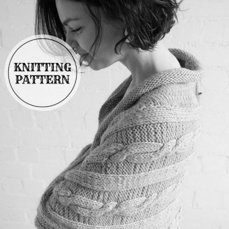 Grey Cocoon Shrug - Knitting Pattern