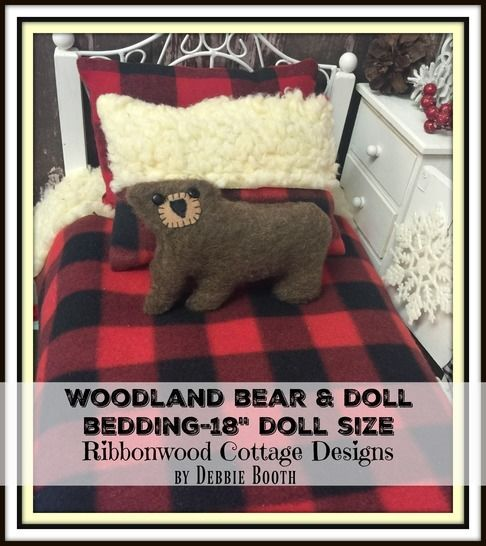 Download Easy Woodland Bear and 18 inch Doll Size Bedding - Sewing Patterns immediately at Makerist