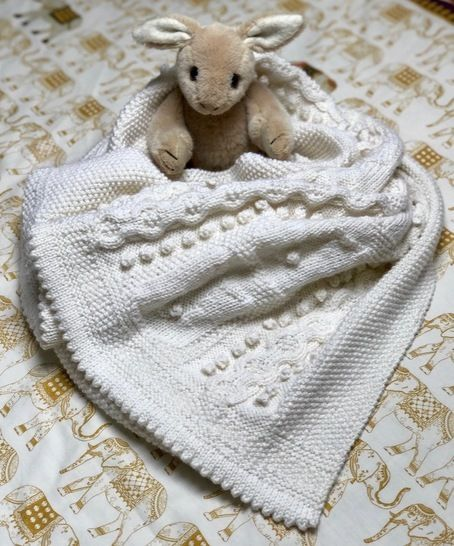 Bobble Bunny Baby Blanket Knitting Pattern