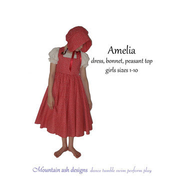 Download Amelia Colonial Dress and Bonnet Costume in Girls Sizes 1-10 - Sewing Patterns immediately at Makerist