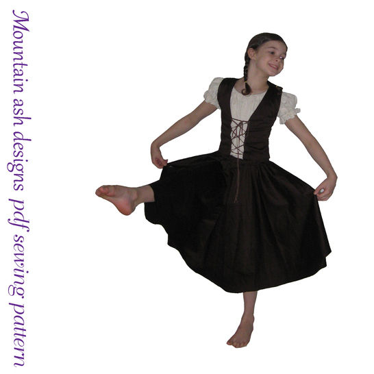 Download Little Milkmaid Ballet Dance Costume in Girls Sizes 3-12 - Sewing Patterns immediately at Makerist