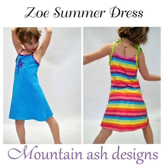 Download Zoe Summer Dress Sewing Pattern in Girls Sizes 2-14 - Sewing Patterns immediately at Makerist
