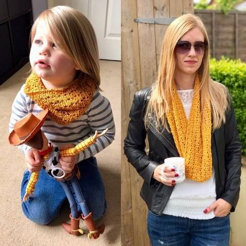 Download Mother and Daughter Lace Snood / Cowl / Infinity Scarf Knitting Pattern immediately at Makerist