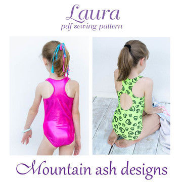Download Laura Racer Back Swimsuit and Leotard Sewing Pattern in Girls Sizes 2-14 - Sewing Patterns immediately at Makerist