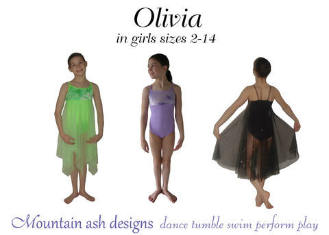 Download Olivia Ballet Costume and Leotard Sewing Pattern in Girls Sizes 2-14 immediately at Makerist