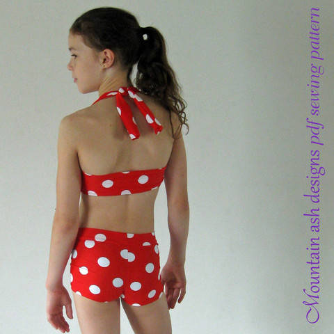 Download Ella Retro Bikini Swimsuit Sewing Pattern in Girls Sizes 2-14 immediately at Makerist