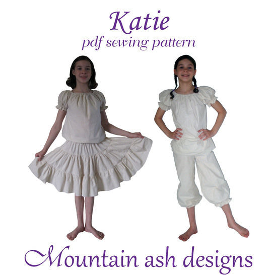 Download Katie Peasant Tops, Petticoats and Bloomers Sewing Pattern in Girls Sizes 1-14  - Sewing Patterns immediately at Makerist