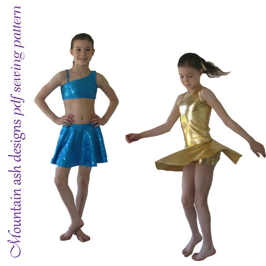 Download Millie Crop, Tank and Skirt Dance Costume Sewing Pattern in Girls Sizes 2-14 - Sewing Patterns immediately at Makerist