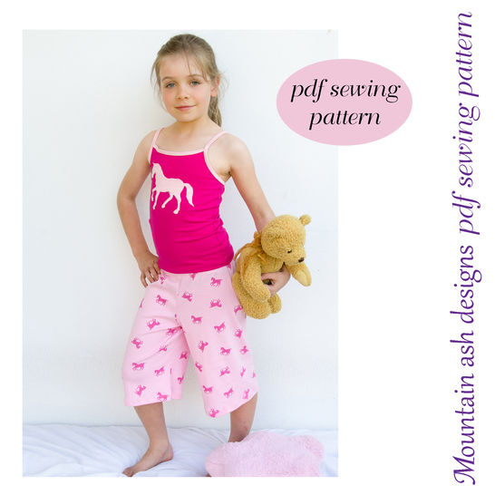 Download Taya Summer Pyjamas Sewing Pattern in Girls Sizes 2-14 - Sewing Patterns immediately at Makerist