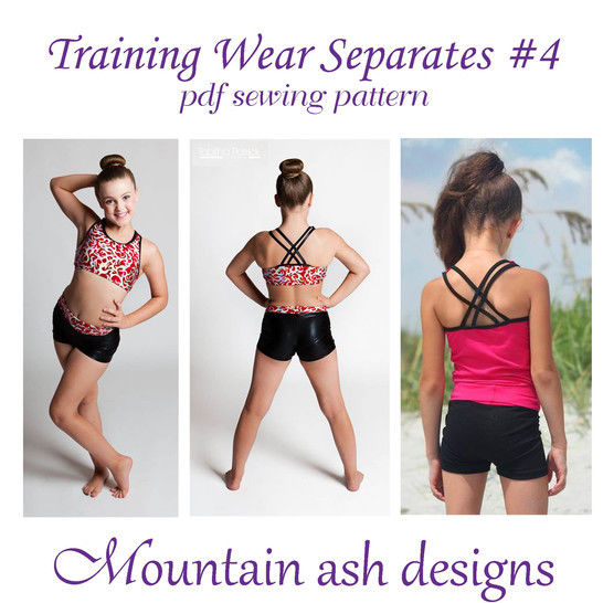 Download Training Wear Separates #4 Crop, Singlet and Shorts Sewing Pattern in Girls Sizes 2-14 - Sewing Patterns immediately at Makerist
