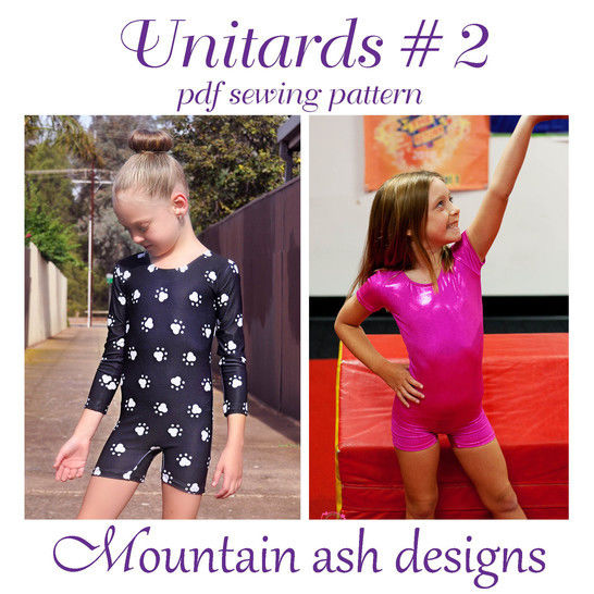 Download Unitards #2 Long Sleeve Unitard or Biketard Sewing Pattern in Girls Sizes 2-14 - Sewing Patterns immediately at Makerist