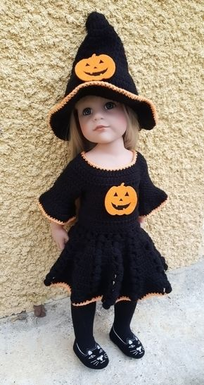Download Miss Halloween: crochet outfit for 45-55 cm doll - Crochet Patterns immediately at Makerist