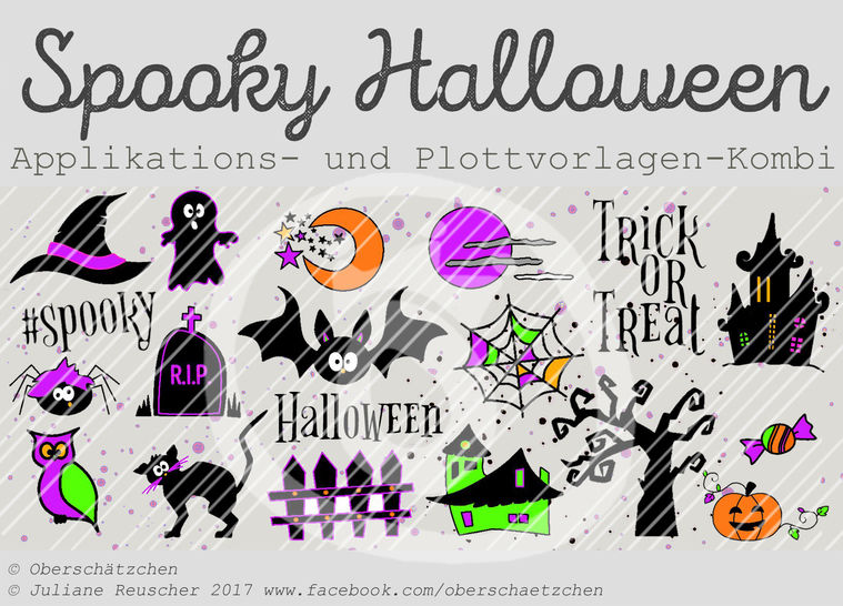 Appli- und Plott-Kombi Spooky Halloween - Plotterdateien bei Makerist sofort runterladen