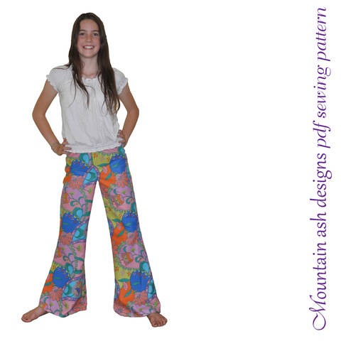 Download Funky Flares Pants Sewing Pattern in Girls Sizes 2-14 immediately at Makerist