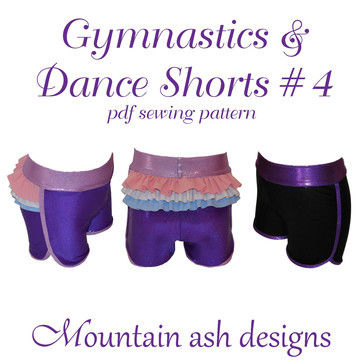 Download Gymnastics and Dance Shorts 4 Ruffle Back Shorts in Girls Sizes 2-14 - Sewing Patterns immediately at Makerist