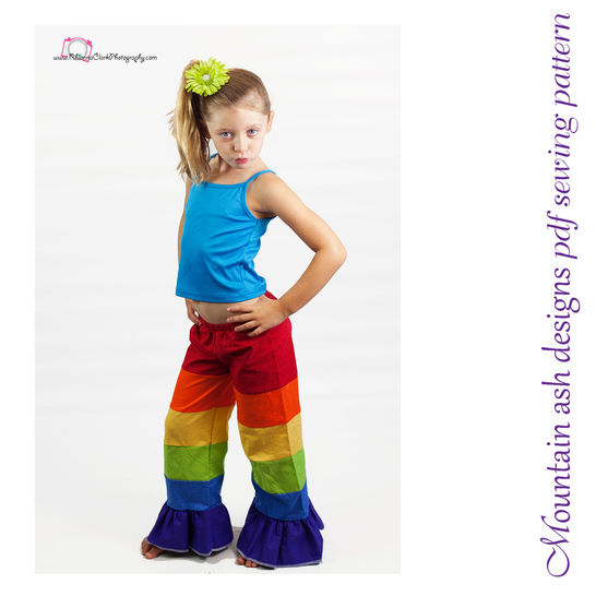 Download Patchwork Pants Rainbow Pants Sewing Pattern in Girls Sizes 1-10 - Sewing Patterns immediately at Makerist