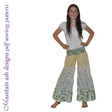 Download Rainbow Ruffle Flares Festival Pants Sewing Pattern in Girls Sizes 1-14 - Sewing Patterns immediately at Makerist