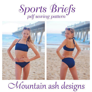 Download Sports Briefs Bikini Bottoms Sewing Pattern in Girls Sizes 2-14 - Sewing Patterns immediately at Makerist