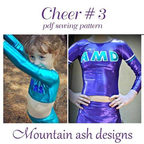 Download Cheer 3 Cheerleading Top Girls Sizes 2-14 Sewing Pattern immediately at Makerist