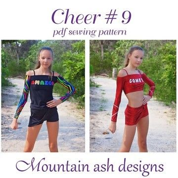 Download Cheer 9 Cheerleading Uniform Tops in Girls Sizes 2-14 - Sewing Patterns immediately at Makerist