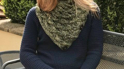 8ply Lacy Neck Scarf Knitting Pattern Nina