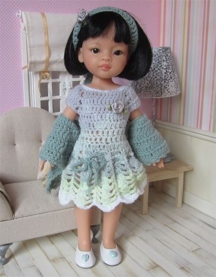 Download Perrine : crochet outfit for Paola Reina or Cherie Doll - Crochet Patterns immediately at Makerist