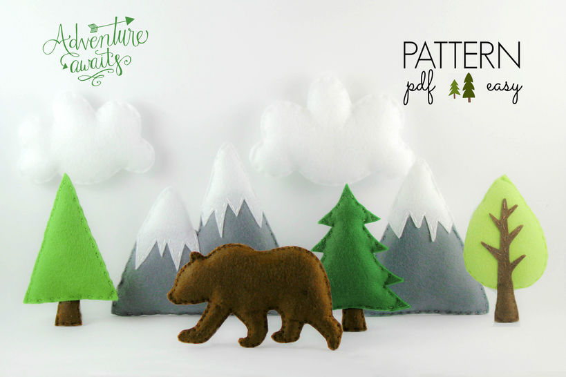 Download Mountain Nursery Mobile Pattern - Adventure Baby Mobile Pattern - Adventure Awaits Mobile - Sewing Patterns immediately at Makerist