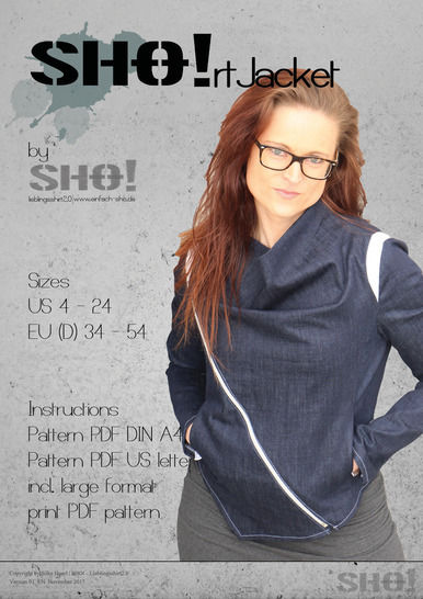 Download SHO!rt Jacket - a slimfit jacket with asymmetrical zipper - Sewing Patterns immediately at Makerist